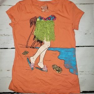 Justice Small orange top with fringe